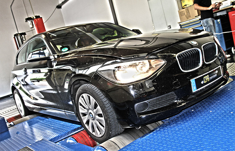 The BMW 120d on the dyno with the PowerBox